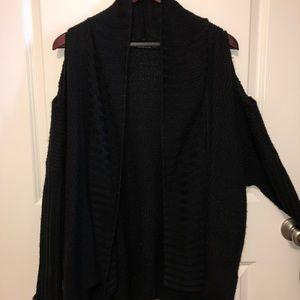 Black (Revealed Shoulder) Cardigan